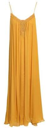 Vanessa Bruno Lace-trimmed Gathered Silk-crepe Maxi Dress