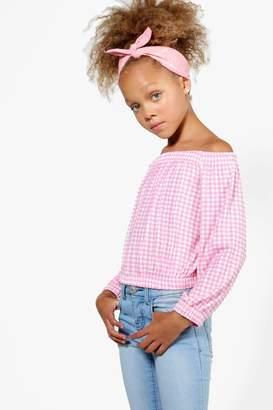 boohoo Girls Gingham Bardot Long Sleeve Top