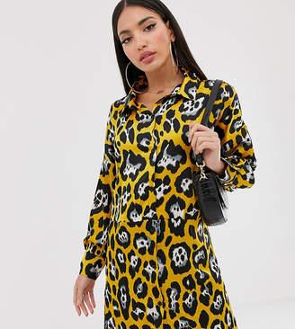 Missguided Tall shirt dress in yellow leopard print