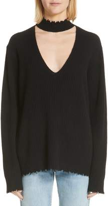 R 13 Choker V-Neck Cashmere Sweater