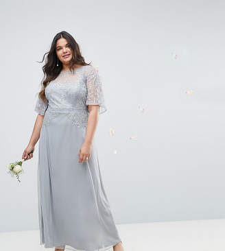 Asos DESIGN Curve Bridesmaid embellished lace insert flutter sleeve maxi dress