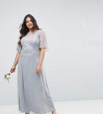 Asos Design Curve Bridesmaid Embellished Lace Insert Flutter Sleeve Maxi Dress