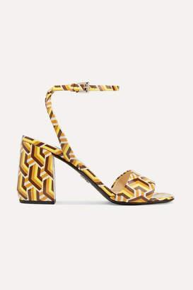 Prada 85 Printed Patent-leather Sandals - Yellow