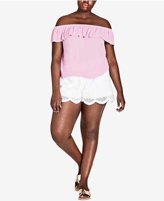 City Chic Trendy Plus Size Off-The-Shoulder Top