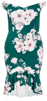 Quiz Curve Teal Floral Print Bardot Midi Dress