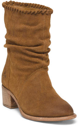 Slouchy Leather Mid Shaft Boots
