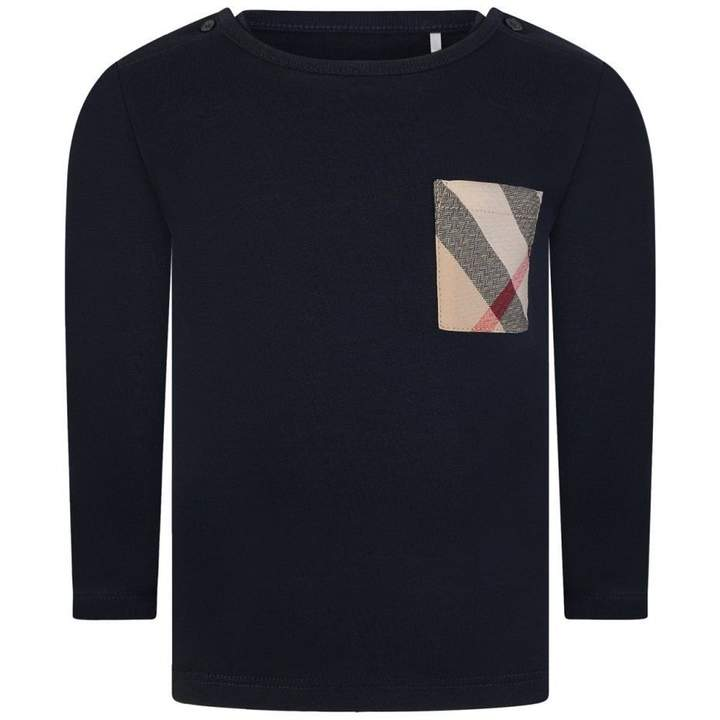 BurberryBaby Boys Navy Long Sleeve Top With Check Pocket