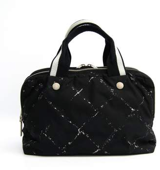 Chanel Black Nylon Travel Line Satchel Bag (SHA-28685)