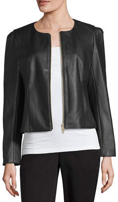 Liz Claiborne Faux-Leather Cropped Jacket