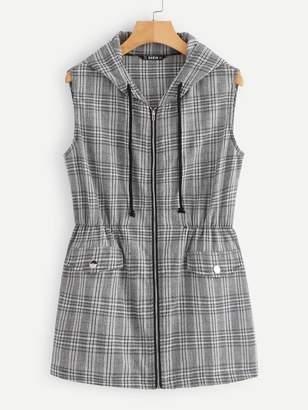 Shein Elastic Waist Zip Up Glen Plaid Hooded Vest
