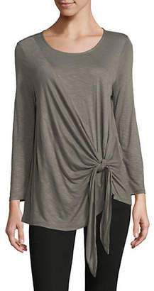 INC International Concepts Tie Front Long-Sleeve Top