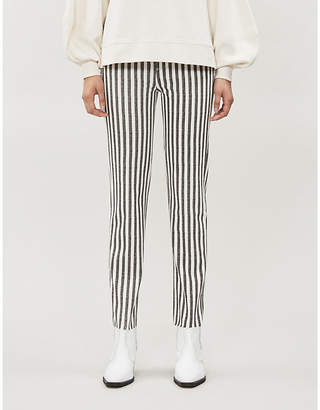 Paige Hoxton striped straight high-rise jeans