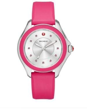 Michele Cape Pink Topaz, Stainless Steel & Silicone Strap Watch/Hot Pink