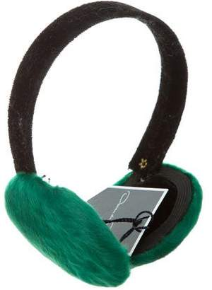 Oscar de la Renta Chinese Lamb-Trimmed Ear Muffs w/ Tags