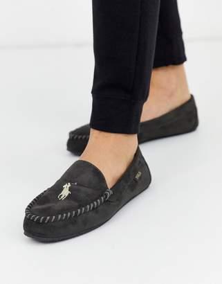 Ralph Lauren Desi moccasin slipper in light grey