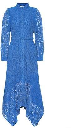 Ganni Cotton-blend asymmetric lace dress