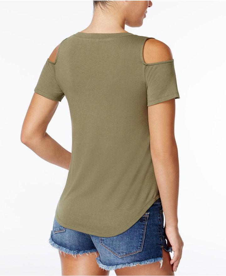 Self Esteem Juniors' Rock All Night Cold-Shoulder Graphic T-Shirt