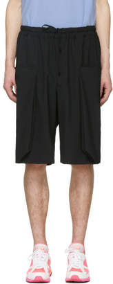 Comme des Garcons Black Wool Layered Pockets Shorts