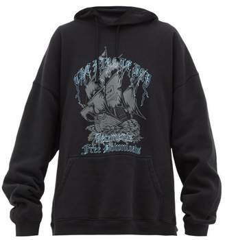Vetements Pirate Bay Print Hooded Sweatshirt - Womens - Black