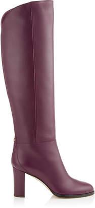Jimmy Choo MADALIE 80 Black Smooth Leather Knee High Boots