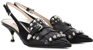 Prada Studded slingback pumps