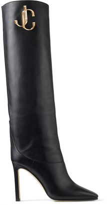 Jimmy Choo MAHESA 100 Black Calf Leather Knee High Boots with Gold JC Logo