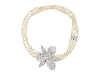 Nina Ceola Triple Strand Pearl Necklace with Orchid Motiff