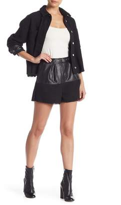 Do & Be Do + Be Tweed Faux Leather Contrast Shorts