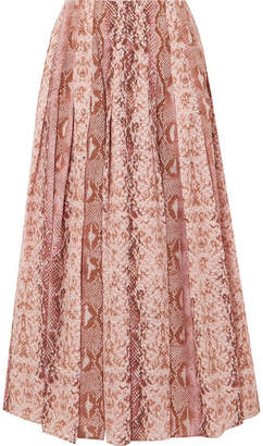 Emilia Wickstead Richie Pleated Snake-print Silk Crepe De Chine Midi Skirt - Pink