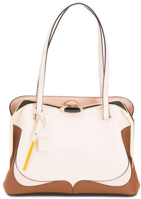 Made In Italy Leather Shopper With Handle Frame Closure