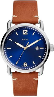 Fossil Analog Commuter Stainless Steel Leather Strap Watch