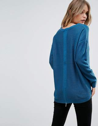 Brave Soul Racer Sweater With Zip Back Detail