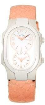 Philip Stein Teslar Signature Dual-Time Stainless Steel, Mother-Of-Pearl & Snakeskin-Strap Watch