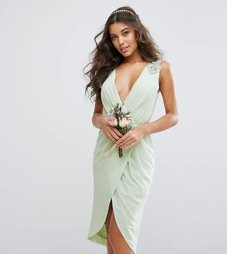 TFNC WEDDING Wrap Midi Dress With Embellishment