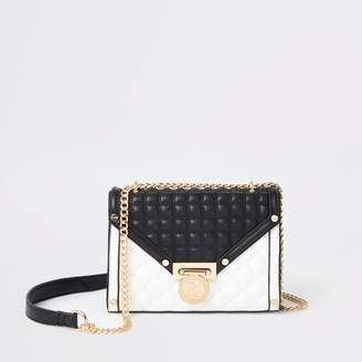 River Island Womens Black and white quilted cross body bag