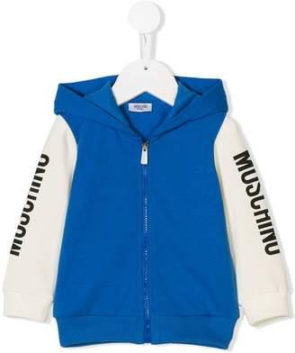 Moschino Kids logo sleeve colour block hoodie