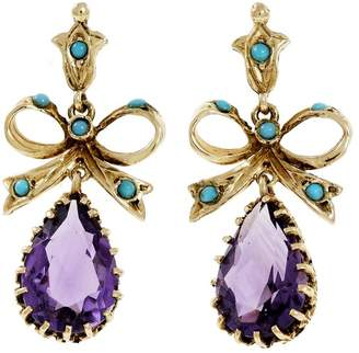 14K Yellow Gold Turquoise Amethyst Bow Top Dangle Earrings