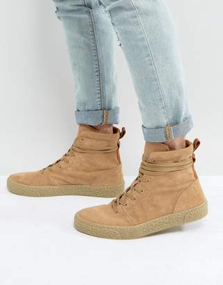 Asos Design Sneaker Boots In Stone Suede With Back Pull