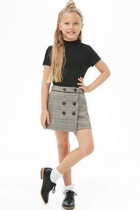 Forever 21 Girls Double-Breasted Glen Plaid Skirt (Kids)