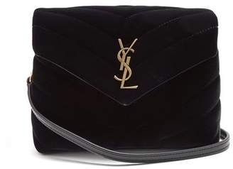 Saint Laurent Loulou Toy Quilted Velvet Cross Body Bag - Womens - Black