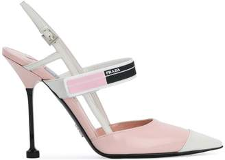 Prada Pink logo 110 leather pumps