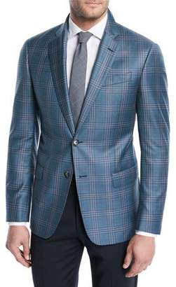 Emporio Armani Two-Tone Plaid Wool Soft Jacket