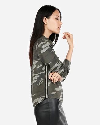 Express Silky Soft Twill Camo Metallic Stripe Shirt