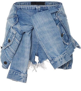 Alexander Wang Tie-front Denim Shorts - Light denim