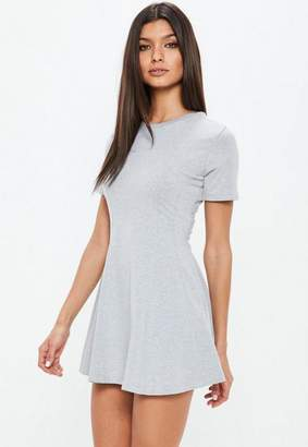 Missguided Petite Grey Short Sleeve Flippy Dress