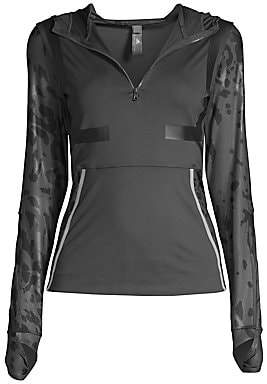 adidas by Stella McCartney Women's Leopard Recycled Polyester Workout Hoodie