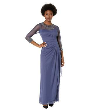 Alex Evenings Petite Long A-Line Dress with Beaded Sweetheart Illusion Neckline