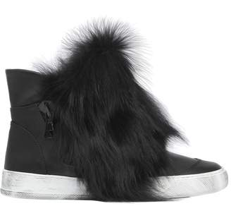 20mm Fox Fur & Leather High Top Sneakers
