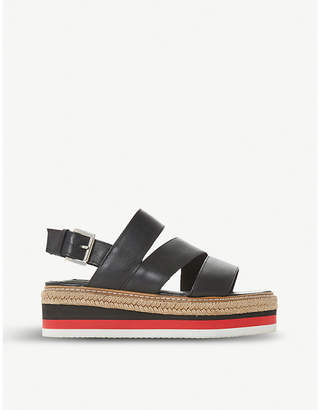 Dune Black Espadrille leather stacked flatform sandal