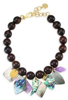 Nest Mother of Pearl Wood Bead Charm Necklace
